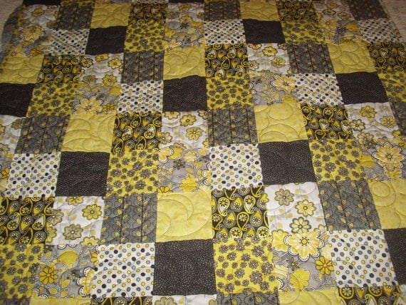 Black Grey White And Yellow Patchwork Quilt Blanket