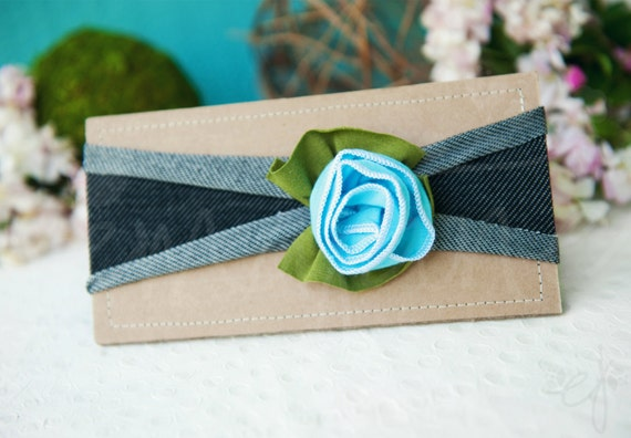 Ema Jane - Shabby Chic Headband (Sky blue on Dark Gray)