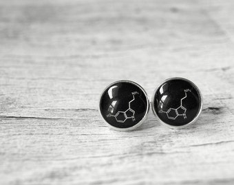 Serotonin molecules earrings stud post - funny earrings - black white earrings - Serotonin Chemical Molecular Structure - happy earrings