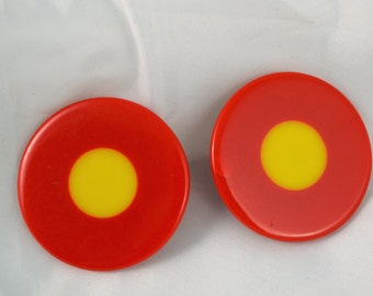 Bill Schiffer Artist Signed  Red Bullseye Earrings c. 1972