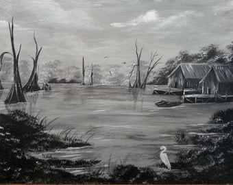 Black & White Swamp Scene in Acrylic