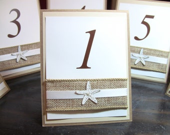 Customize Your Colors, Natural Wedding Table Number Card, Double Sided, Burlap, Starfish and Elegant Pearl, Customize Any Color