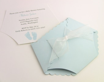 Customize Any Color, 10 Diaper Baby Shower Invitation, New Baby Announcement, Or Thank You Cards, Baby Boy Blue