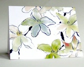 Notecard Set of 8 Chinese Brush Magnolia Blossom Art Cards A2 Size
