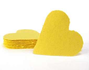 Yellow hearts, handmade paper, recycled, deckle edge, set of 10