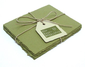 Olive green handmade paper, recycled, deckle edge, 10 small sheets,  4.25 x 5.5 inch