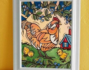 """Chicken Art Print, Kitchen Decor, Chicken Kids Bedroom Art, 11x17"""", Children's Illustration, Kitchen Artwork"""