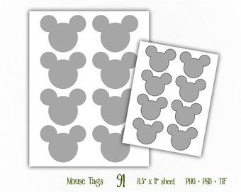 Mouse Tags - Digital Collage Sheet Layered Template - (T091)