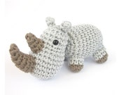 Amigurumi rhino PATTERN  -  Crochet pattern - Stuffed animal tutorial with photos - Zoo animal - Amigurumi tutorial - EN-022