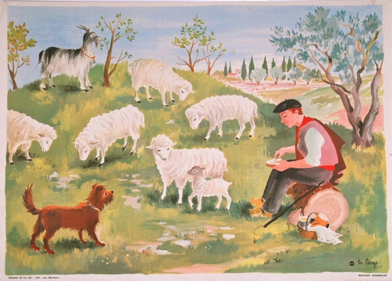Vintage French poster from 1950s - school poster, educational, farmhouse