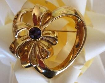 SALE Vintage Avon Gold Heart and Purple Rhinestone Brooch, Amethyst Rhinestone Heart, Gift for Her, Birthday