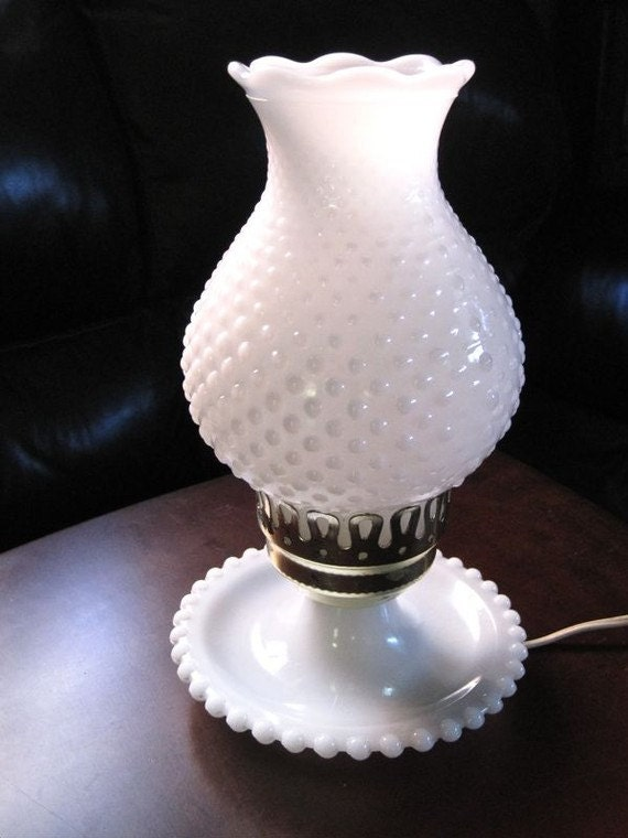 Vintage 1960s Antique White Hobnail Milk Glass Hurricane
