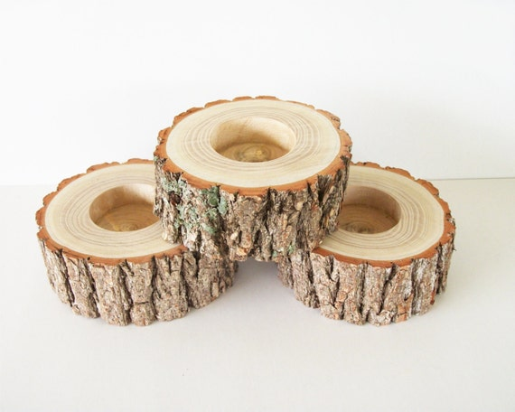 3 Sassafras Wood Tea Light Candle Holders Bark Covered Rustic Wedding Decor Table Decoration Tealight Candle Holders Rustic Decor