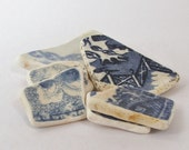 Sea Pottery Shards Genuine Beach China from Firth of Forth Blue and White Antique Willow Pattern