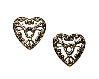 6 Gold Heart Stamping, Antique Gold Plate, 17mm, Gold Stamping