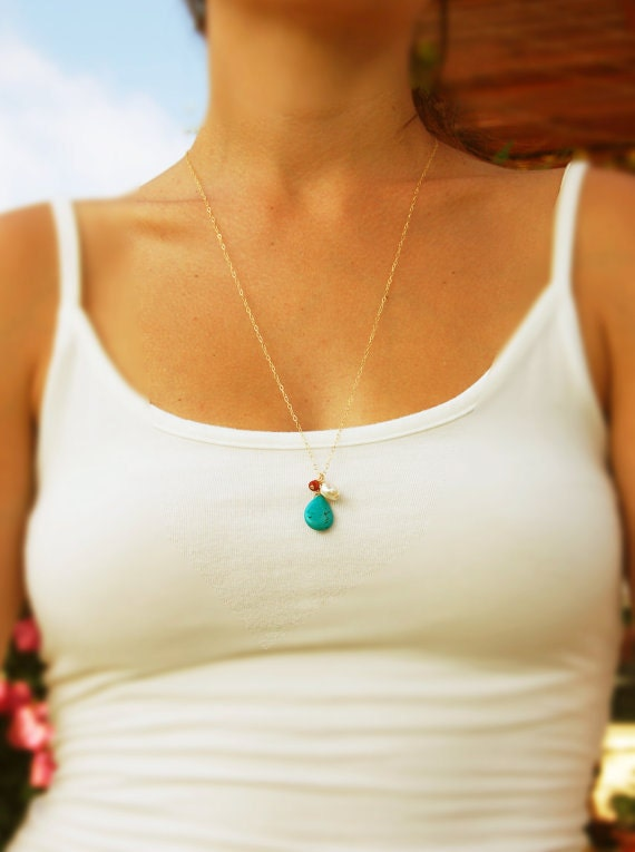 LONG gold necklace Gold necklace Turquoise jewelry cluster