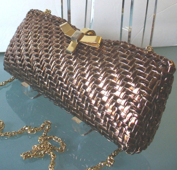 Vintage Rodo Wicker Clutch with Copper Metallic Finish Made in Italy