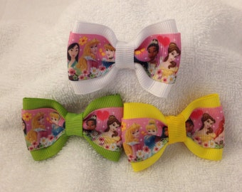 Disney Princess Hearts and flowers Bow - 2 inches