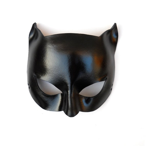 Glossy Black Catwoman Leather Mask Super Hero Sexy by LMEmasks