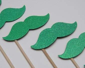 SPARKLE STACHE STICKS Seafoam Green Glitter (set of 8 sparkle stache sticks)