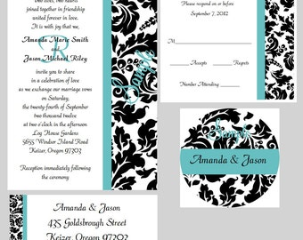 100 Personalized Custom Monogram Damask Wedding Invitations Set Any Color Stripe