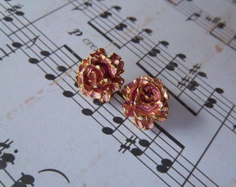 Vintage Rose Earrings 1980s
