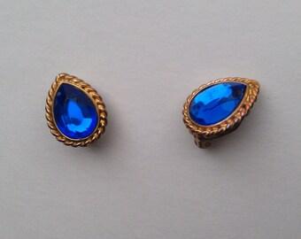 Vintage Blue Glass Rhinestone Clip Earrings 1960s