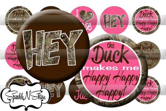 Instant Download Bottle Cap Image Sheet - the Duck makes me HAPPY - 1 inch Circles