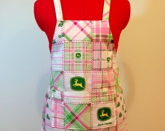 Kids Apron - Pink Plaid John Deere Childrens Apron - Childs Apron - Kitchen Accessory
