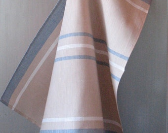 Linen Cotton Dish Towels Tea Towels Beige Sand Blue White set of 2
