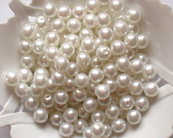Beads Plastic white 5mm Round 40 pcs pearl-shell