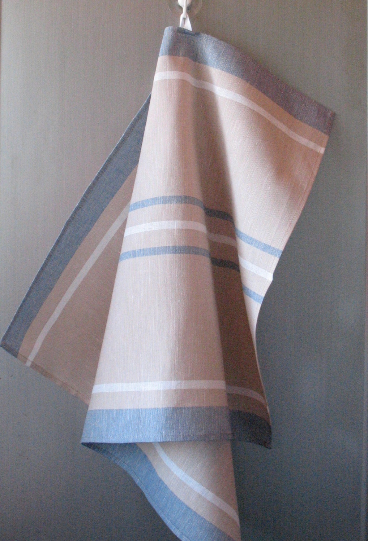 linen cotton dish towels tea towels beige sand blue white set. Black Bedroom Furniture Sets. Home Design Ideas