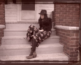 Black and Floral Maxi Grunge Boho Skirt