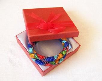 Beadwork - 2 Strand Multicolor Bead Crochet Bracelet - orange - green - red - blue - pink - turquoise - grey