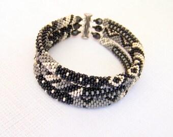 Beadwork - 3 Strand Bead Crochet Rope Bracelet in black, grey and beige - beaded jewelry - seed beads bracelet