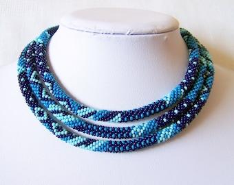 Long Beaded Crochet Rope Necklace - Beadwork - Seed beads jewelry - Elegant - Geometric  - Patchwork - Sky blue - Dark blue - Blue
