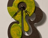 Unique Modern Art Wall Clock Metallic Bronze Olive Yellow