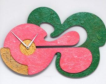 Wall Clock Pearlescent Magenta Gold Green
