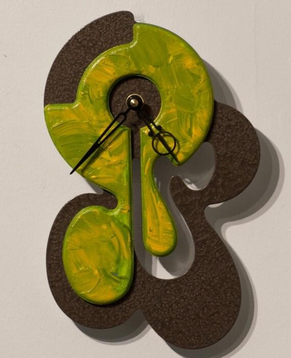 Unique Modern Art Wall Clock Metallic Bronze Olive Yellow