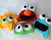 Sesame Street Baby Hats Photography Props Costume Big Bird, Elmo, Oscar the Grouch, Cookie Monster - sunshineknitandsew