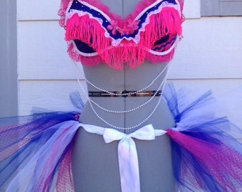 Bright Pink, Blue and White Rave Bra / Costume Bra and Matching tutu / EDC Outfit