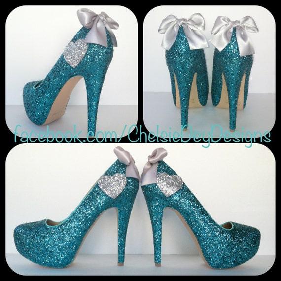 Teal Glitter High Heels - Aqua Turquoise Blue Pumps - Silver Hearts - Sparkly Wedding Shoes - Platform Prom Heels