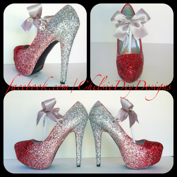 Glitter High Heels Red Pink Silver Pumps by ChelsieDeyDesigns