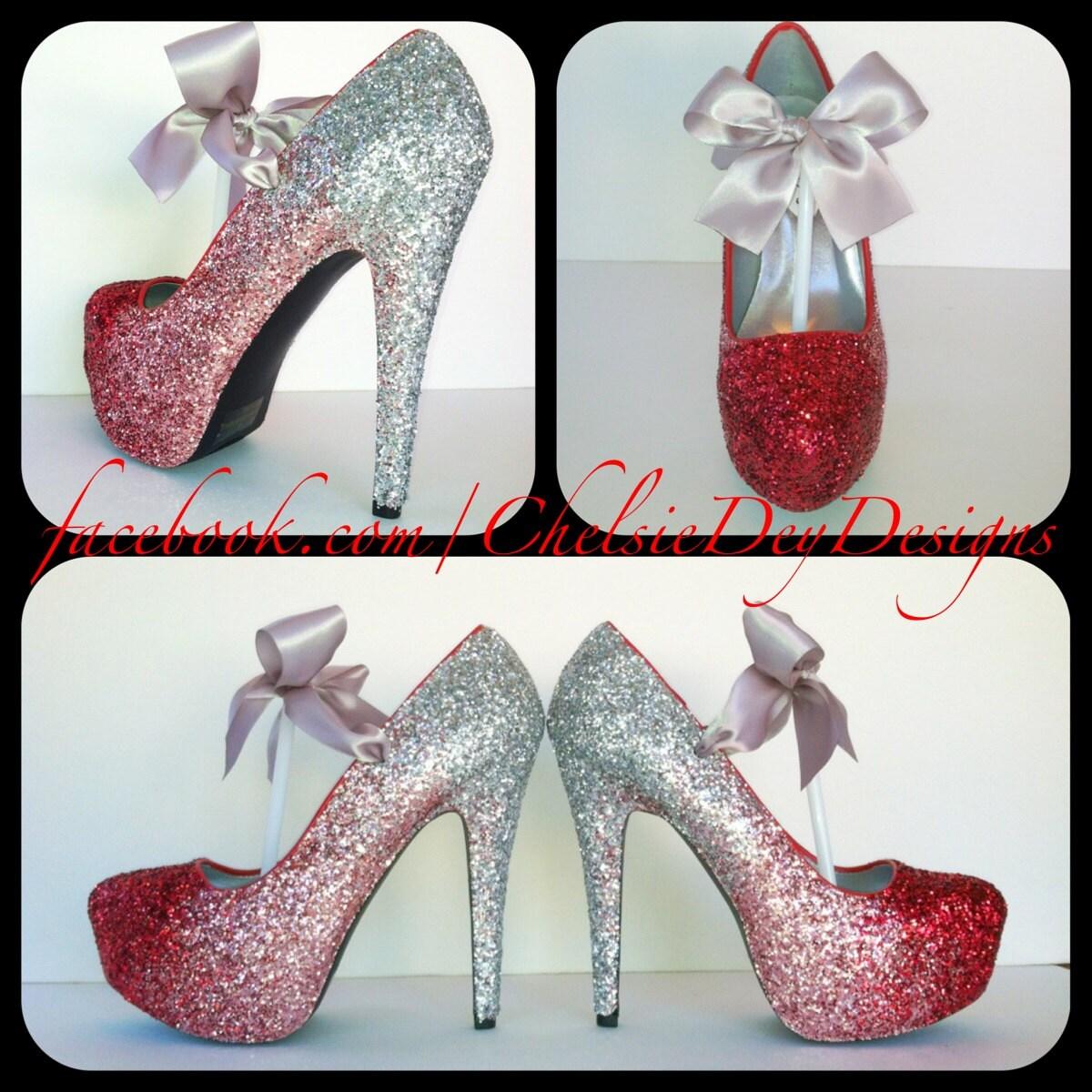 Glitter High Heels Red Pink Silver Pumps by ChelsieDeyDesigns