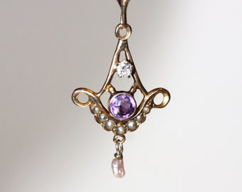 Antique lavaliere, solid 10k gold with amethyst, genuine diamond and seed pearl, fine jewelry