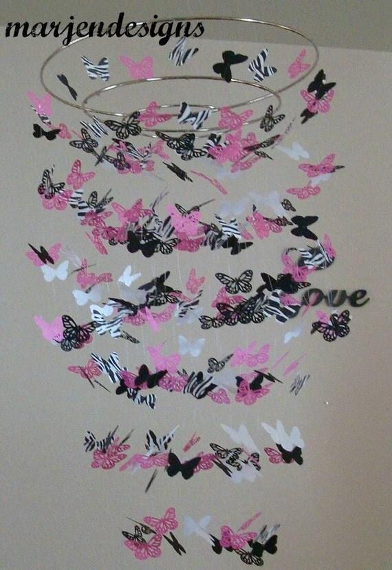 zebra schmetterling mobile rosa schmetterling mobile baby. Black Bedroom Furniture Sets. Home Design Ideas