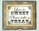 LOVE is SWEET candy bar sign print vintage style 8x10 wedding sign candy buffet