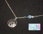 Silver Plated Sand Dollar and Sea Glass Necklace