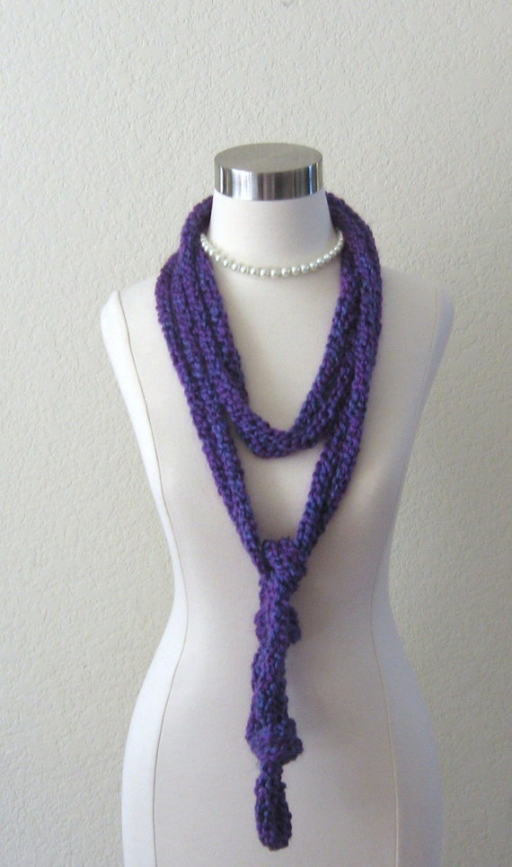 SUMMER PURPLE SCARF Gift For Her Long Rope Scarf  Spring Fall Feminine Fashion Chic Women Handmade in America