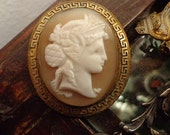 SALE Antique Carved Cameo  with Greek Key Frame Brooch